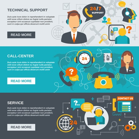 Illustration pour Technical support call center and service flat banner set isolated vector illustration - image libre de droit