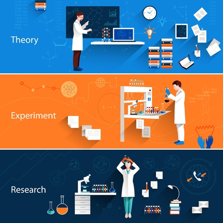 Illustration pour Science horizontal banners set with theory experiment research isolated vector illustration - image libre de droit