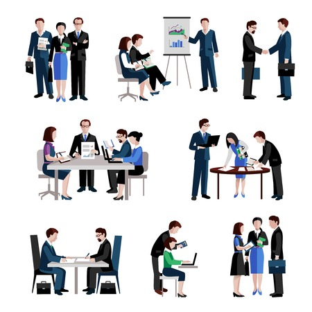Illustration for Teamwork icons set with men and women teams conference brainstorming isolated vector illustration - Royalty Free Image