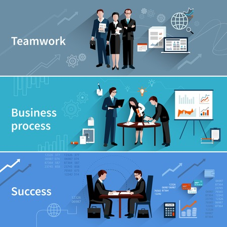 Teamwork banners set with business process and success elements isolated vector illustrationのイラスト素材