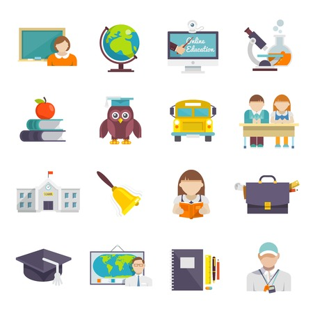 Illustration pour School icon flat set with teacher pupils and education elements isolated vector illustration - image libre de droit
