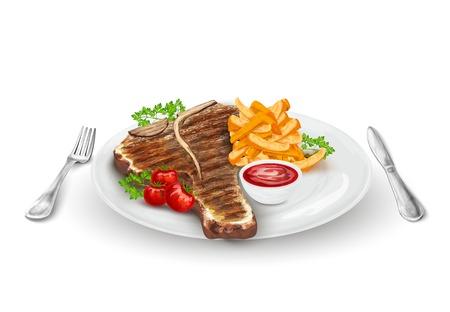 Vektor für Grilled steak on plate with potato chips vegetables knife and fork vector illustration - Lizenzfreies Bild