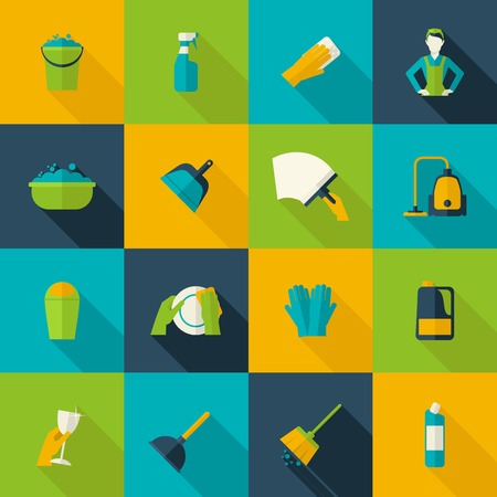 Illustration pour Cleaning icon flat set isolated with windows dishes floor washing isolated vector illustration - image libre de droit