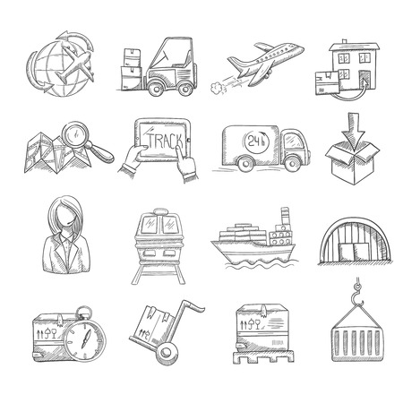 Logistics and delivery service business sketch decorative icons set isolated vector illustration