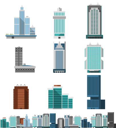 Foto de Skyscraper offices flat business buildings set with city skyline decorative icon isolated vector illustration - Imagen libre de derechos
