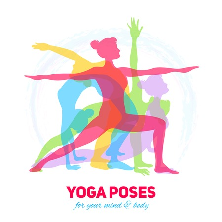Illustration pour Yoga fitness concept with girl silhouettes in different poses vector illustration - image libre de droit