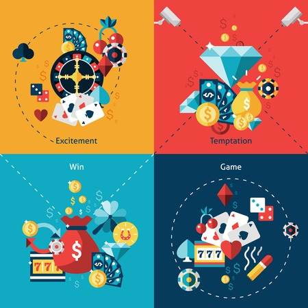 Casino design concept set with excitement temptation win game flat icons isolated vector illustration