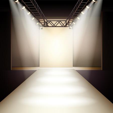 Ilustración de Empty fashion runway podium stage interior realistic background vector illustration - Imagen libre de derechos