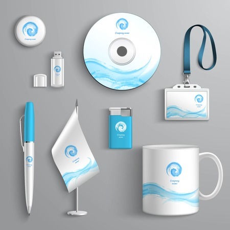 Illustration pour Corporate business identity stationery design elements template isolated vector illustration - image libre de droit