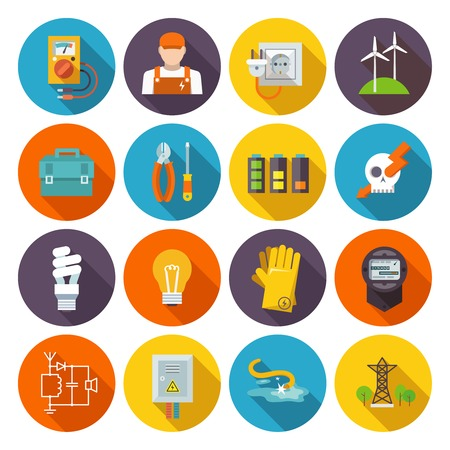 Illustration pour Electricity icon flat set with electric energy power equipment test toolbox isolated vector illustration - image libre de droit
