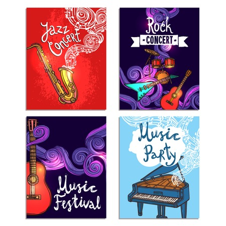 Jazz rock classic concert mini poster sketch set with music instruments isolated vector illustration