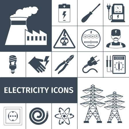 Electricity icons black set with power plant battery screwdriver multimeter isolated vector illustration
