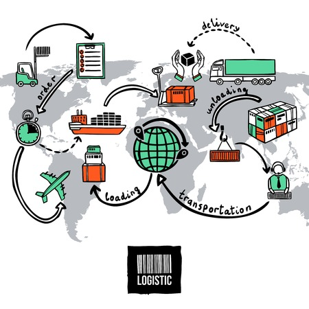 Illustration pour Logistic sketch concept with shipping and transportation icons and world map vector illustration - image libre de droit
