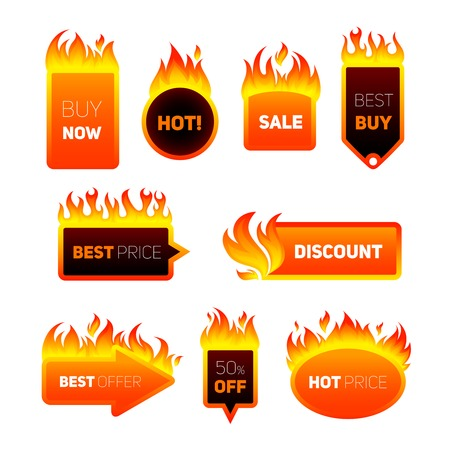 Hot price fire flame sale promotion discount badges set isolated vector illustration