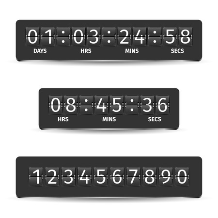 Countdown clock timer analog display mechanical time indicator black vector illustration