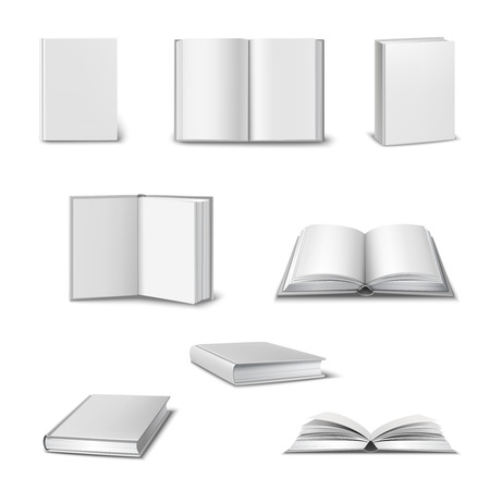 Illustration pour Realistic set of 3d open and closed books with blank white cover isolated vector illustration - image libre de droit
