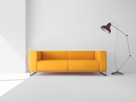 Living room interior with realistic yellow sofa and lamp vector illustration