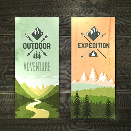 Illustration pour Tourism hiking holidays forest landscape with mountain peaks and two vertical banners set abstract isolated vector illustration - image libre de droit