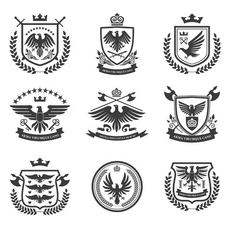 Eagle heraldry coat of arms emblems shield icons set with spread wings black isolated abstract vector illustration