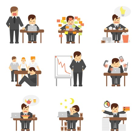 Stress at work dropping results graphic angry boss cartoon characters flat icons set abstract isolated vector illustration