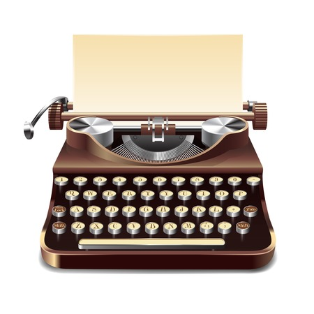 Illustration pour Realistic old style typewriter with paper sheet isolated on white background vector illustration - image libre de droit