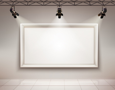 Illustration pour Gallery room interior with blank picture frame illuminated with spotlights realistic 3d vector illustration - image libre de droit