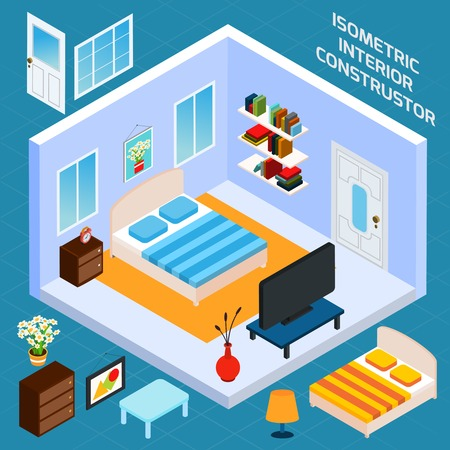 Isometric bedroom blue walls interior with 3d furniture icons set vector illustration