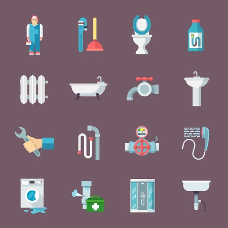 Pipeline plumbing and heating reparation service and  sink drain cleaning kit flat icons composition vector isolated illustration
