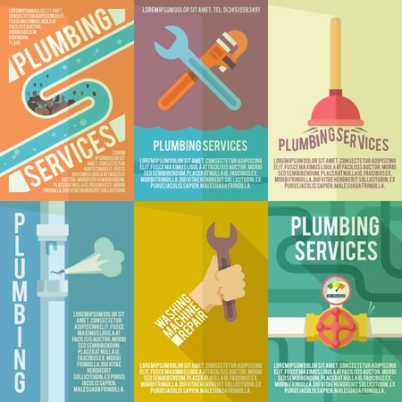 Plumber service flat labels composition poster of leakage fixing and washing machines repair abstract isolated vector illustration