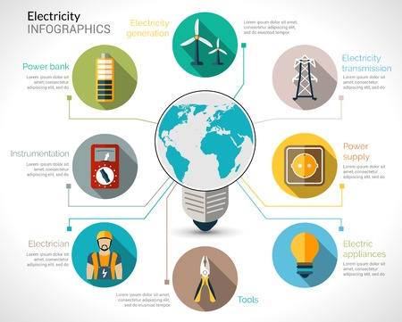 Electricity infographics set with electric bulb energy generation equipment and transmission vector illustration