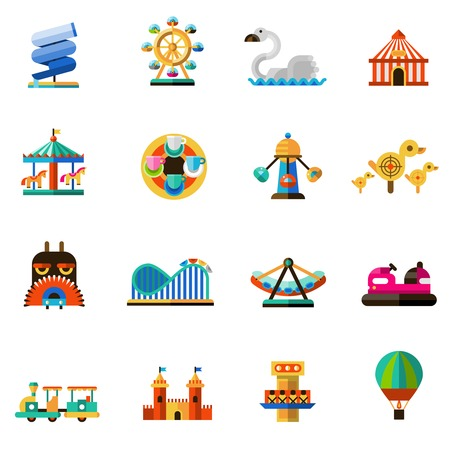 Illustration pour Family amusement recreational fun park decorative icons set isolated vector illustration - image libre de droit