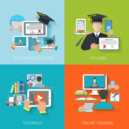 Illustration for Online education design concept set with distance diploma tutorials training flat icons isolated vector illustration - Royalty Free Image