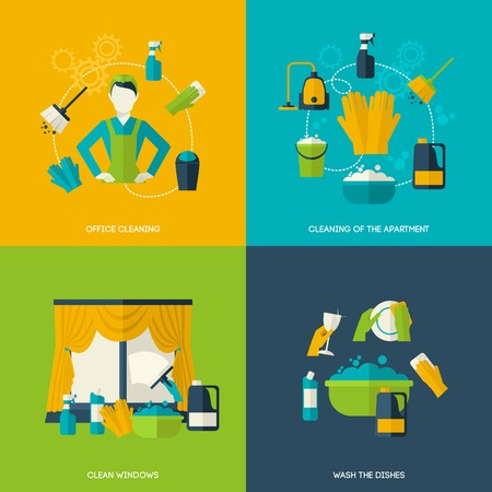 Illustration pour Cleaning design concept with office apartment windows dishes flat icons set isolated vector illustration - image libre de droit