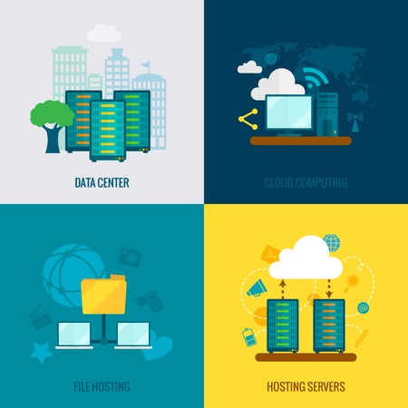 File hosting cloud storage data center users support service 4 flat icons composition abstract isolated vector illustration