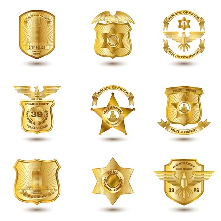 Ilustración de Police municipal city law enforcement department badges gold set isolated vector illustration - Imagen libre de derechos
