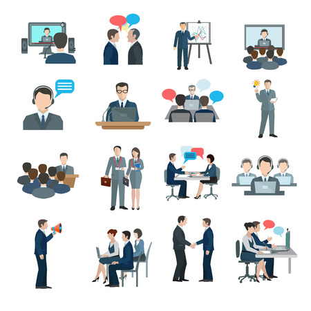 Illustration for Conference icons flat set with business people workgroup communication isolated vector illustration - Royalty Free Image
