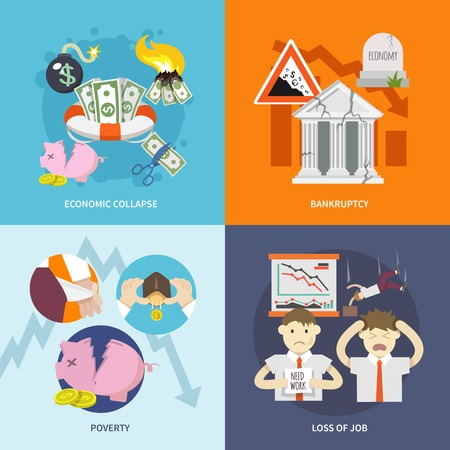 Economic crisis design concept set with collapse bankruptcy poverty job loss flat icon isolated vector illustration