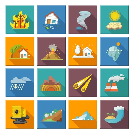 Illustration pour Natural disaster icons set with tide volcano erupting earthquake flood isolated vector illustration - image libre de droit