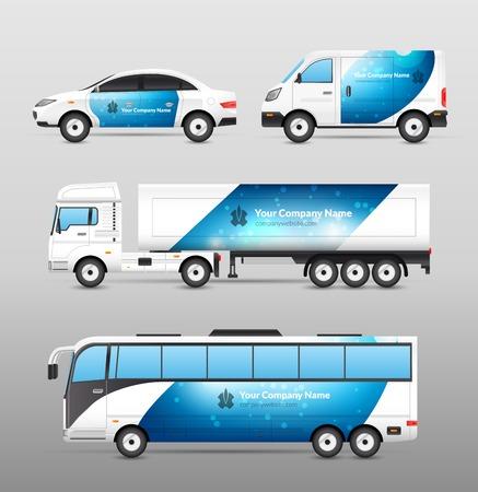 Foto de Transport advertisement design blue template decorative icons set isolated vector illustration - Imagen libre de derechos