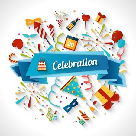 Illustration pour Celebration background with ribbon and party entertainment holiday elements vector illustration - image libre de droit