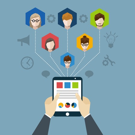 Illustration pour Distant management concept with businessman hands holding tablet with employees network vector illustration - image libre de droit