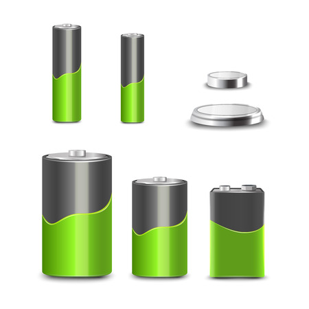 Realistic 3d battery types decorative icons set isolated vector illustration