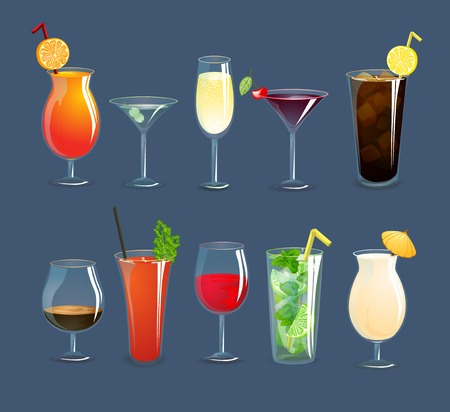 Alcohol drinks and cocktails in glasses decorative icons set isolated vector illustration