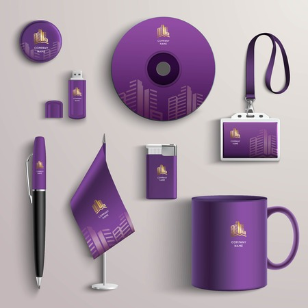 Corporate identity purple design template with branded business stationery set isolated vector illustration