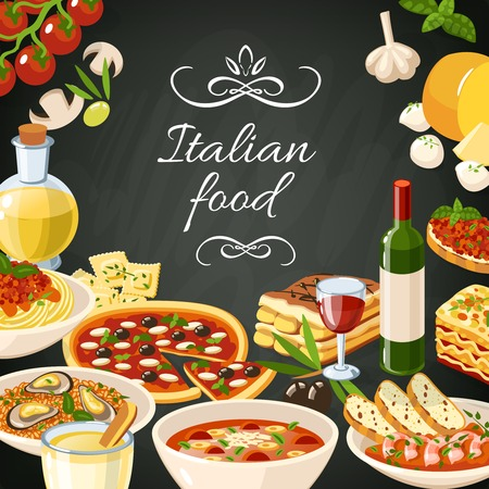 Italian restaurant food background with olives pasta garlic spaghetti pizza vector illustration