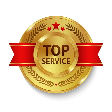 Illustration pour Gold metal top service badge with red ribbon and decoration vector illustration - image libre de droit