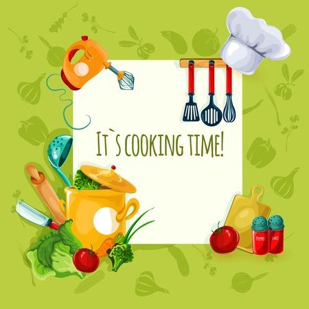 Vektor für Cooking appliances and restaurant utensil and food background vector illustration - Lizenzfreies Bild