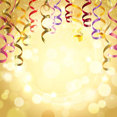 Celebration golden color background with realistic festive streamers vector illustration