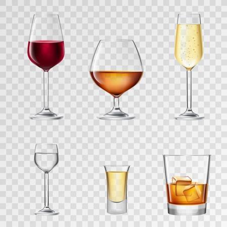 Illustration pour Alcohol drinks in 3d realistic glasses transparent set isolated vector illustration - image libre de droit