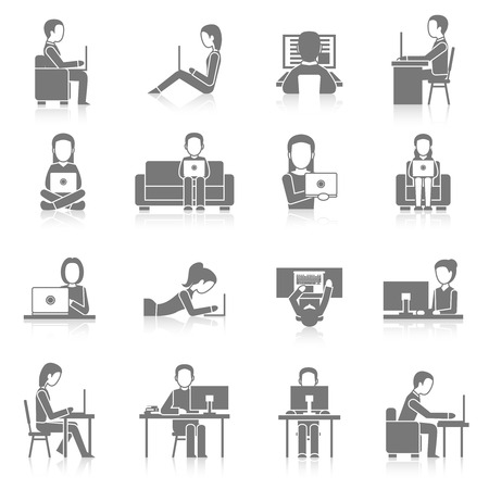 Illustration pour People working on computer sitting and laying black icons set isolated vector illustration - image libre de droit